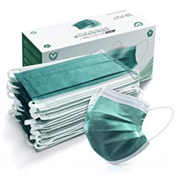 [50 PC] Disposable 3ply mask - dark green