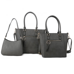 Front zipper 2in1 tote and crossbody bag set - grey