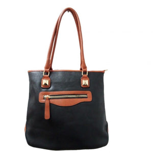 Front zip medium tote - black