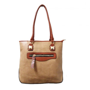 Front zip medium tote - apricot