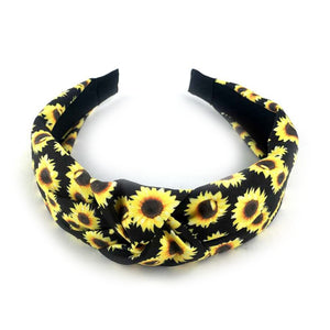 Sunflower wrapped headband -black