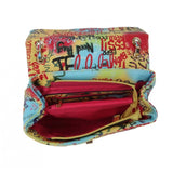 Round metal handle graffiti satchel with wallet - multi 5