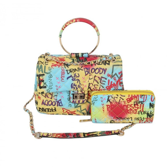 Round metal handle graffiti satchel with wallet - multi 1