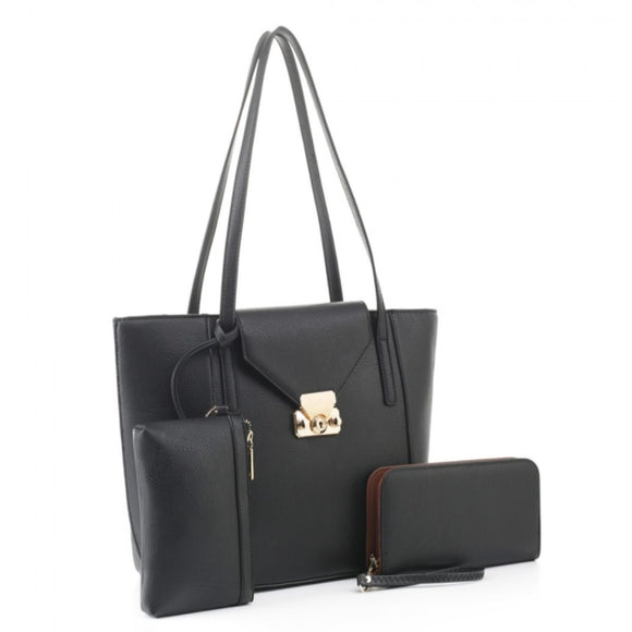 3 in 1 market tote and wallet set - black