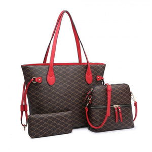 Monogram tote and crossbody set - red
