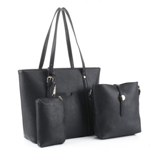 3 in 1 belted tote with crossbody bag - black