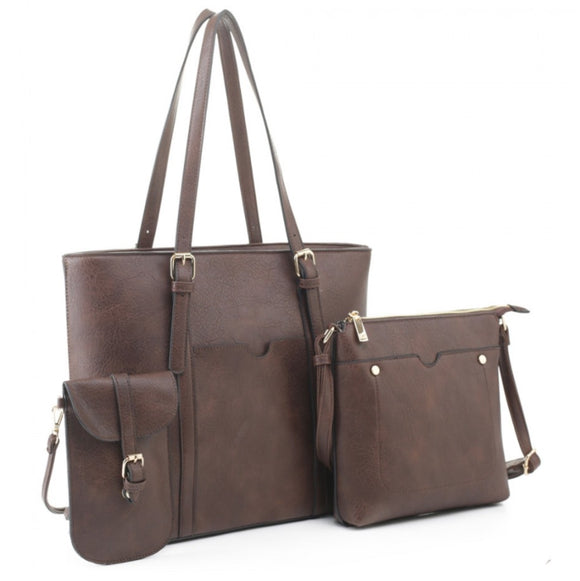 3 in 1 tote & front pocket crossbody bag - coffee