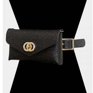 Shimmery cluth & belt bag - gold black