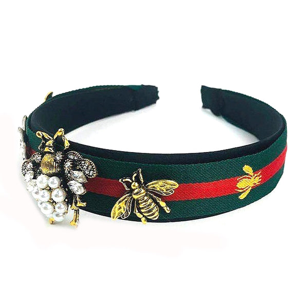 Lady bug headband - green red