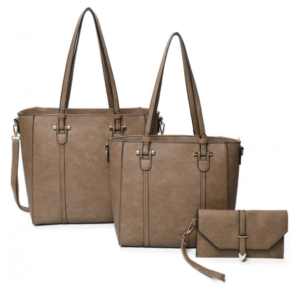 3 in 1 lined tote and clutch - stone