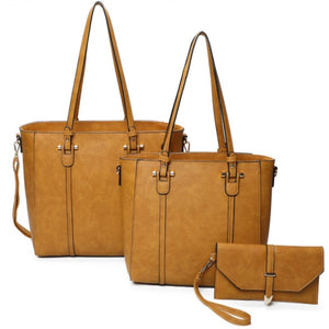 3 in 1 lined tote and clutch - mustard