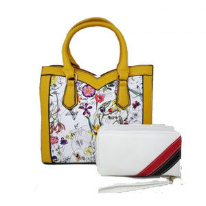 Floral print satchel - yellow