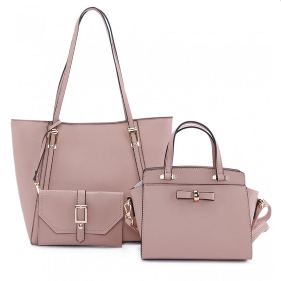3 in 1 long handle tote and ribbon satchel - pink