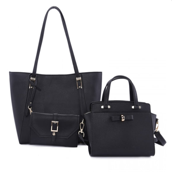 3 in 1 long handle tote and ribbon satchel - black