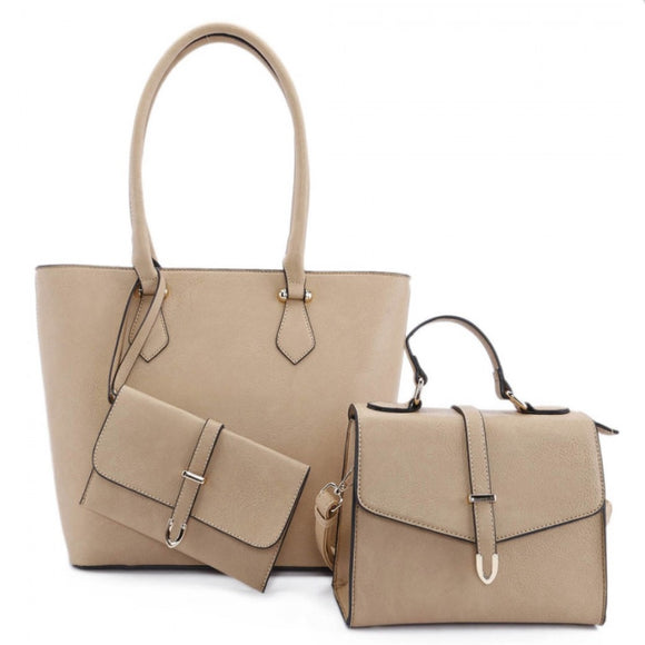 3 in 1 long handle tote and fold over satchel - tan