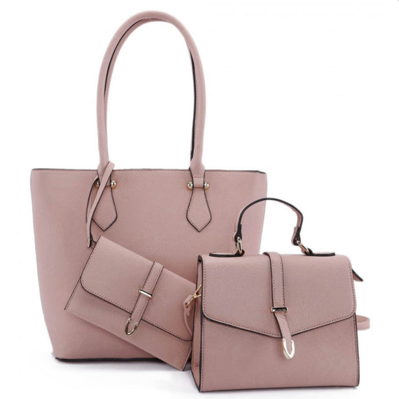 3 in 1 long handle tote and fold over satchel - pink