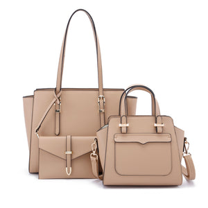 3 in 1 long handle tote and front pocket satchel - tan