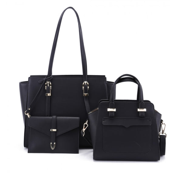 3 in 1 long handle tote and front pocket satchel - black
