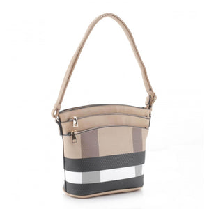 Triple zipper crossbody - brown taupe