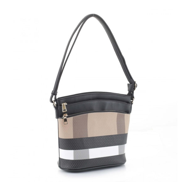 Triple zipper crossbody - brown black