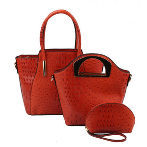 Crocodile tote and hard handle handbag - orange