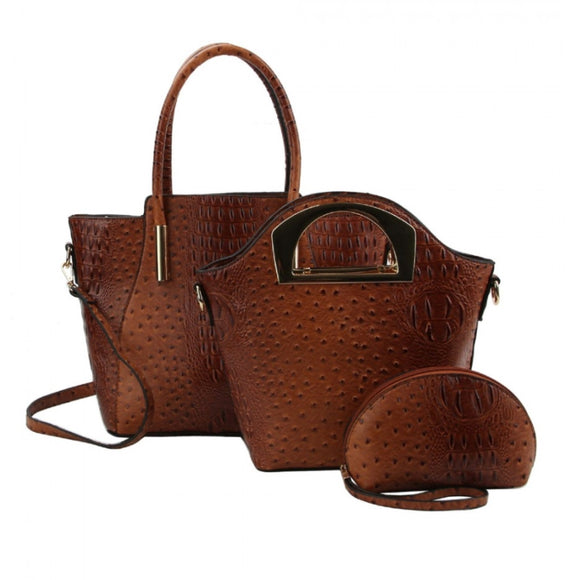 Crocodile tote and hard handle handbag - brown