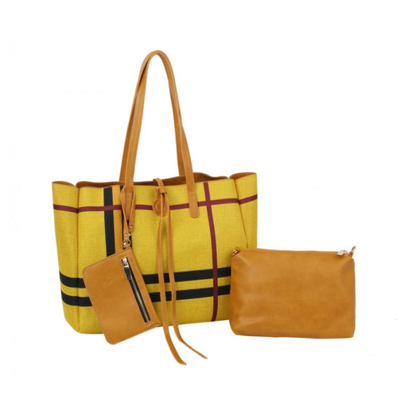Reversible stripe 3 in 1 tote - yellow