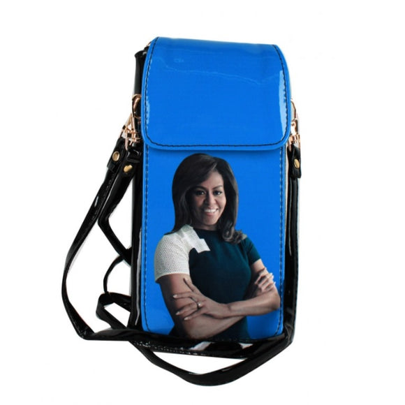 Michelle Obama cellphone crossbody bag - blue