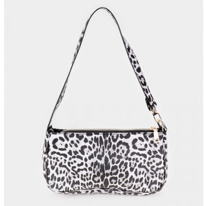 Leopard pattern shoulder bag - white
