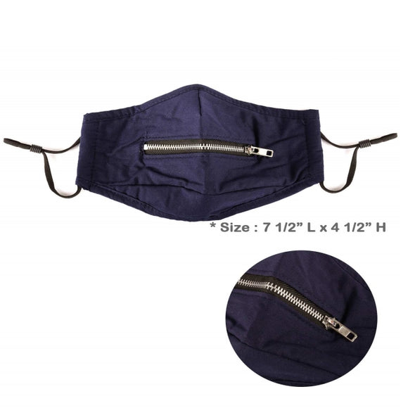 [12pcs] Mouth zipper mask - navy