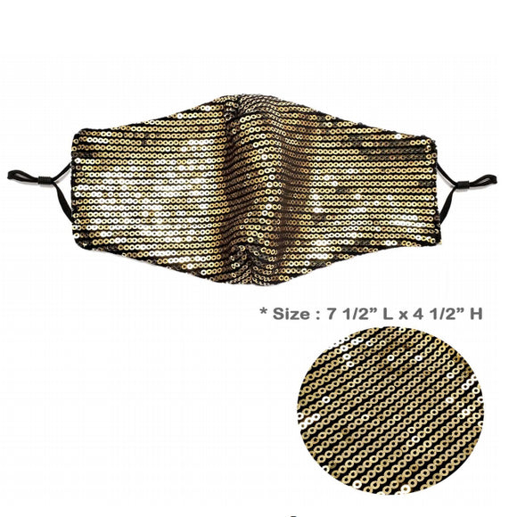 [12pcs set] Sequin mask - gold