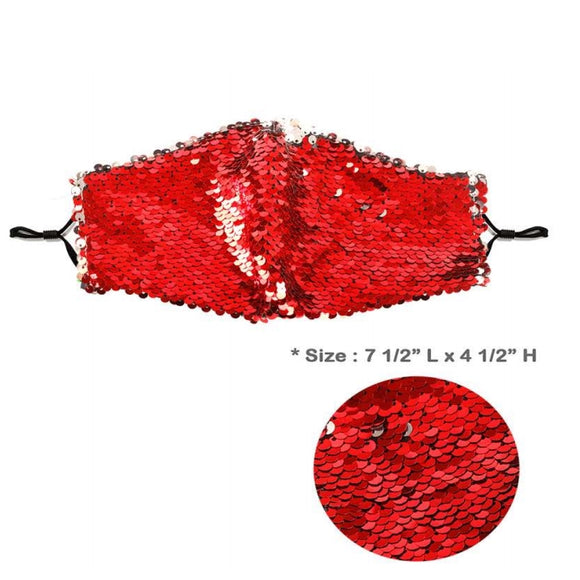 [12pcs set] Sequin mask - red