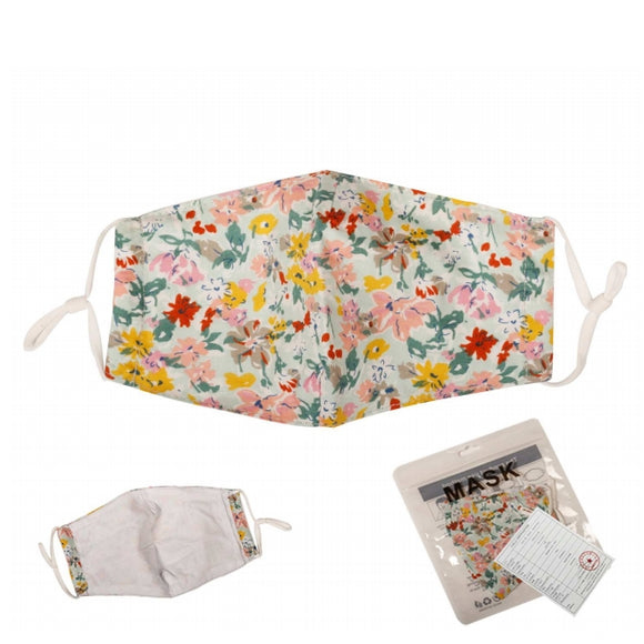 [12pcs set] Flower cotton mask - mint