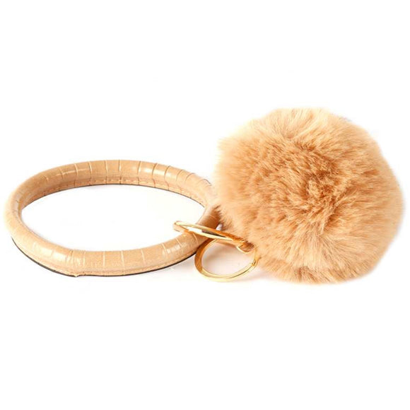 [12pcs set] Pom pom Bangle keyring - gold beige