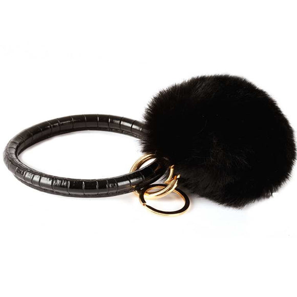 [12pcs set] Pom pom Bangle keyring - gold black