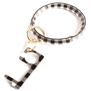 [12pcs set] Plaid bangle with sanitray key chain - black white