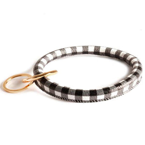 [12pcs set] Plaid Bangle keyring - black white