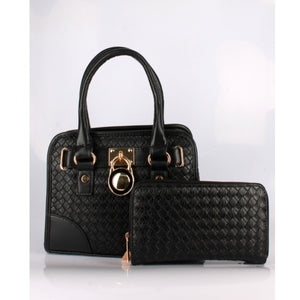 Woven satchel set - black