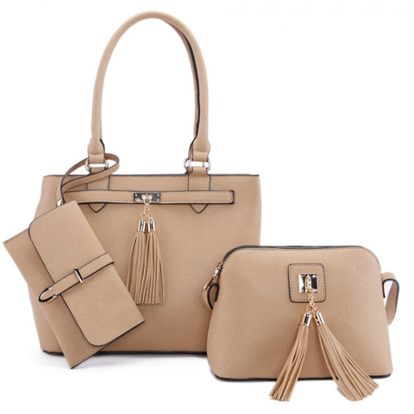3 in 1 tassel handbag set - tan