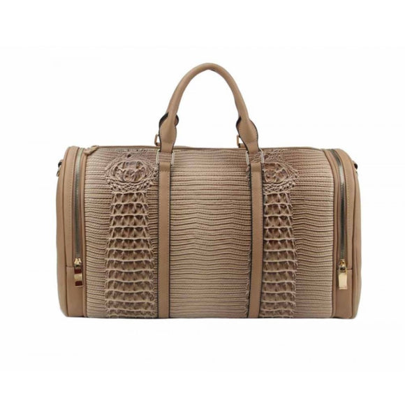 Crocodile embossed weekender bag - stone