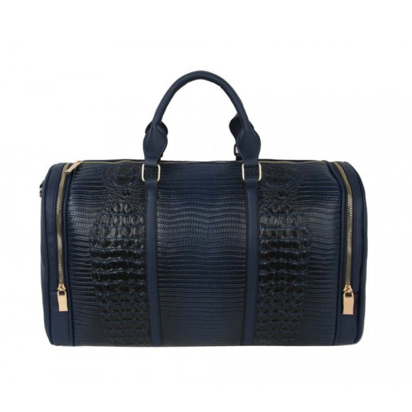 Crocodile embossed weekender bag - navy