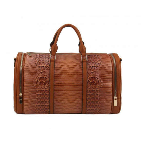 Crocodile embossed weekender bag - brown