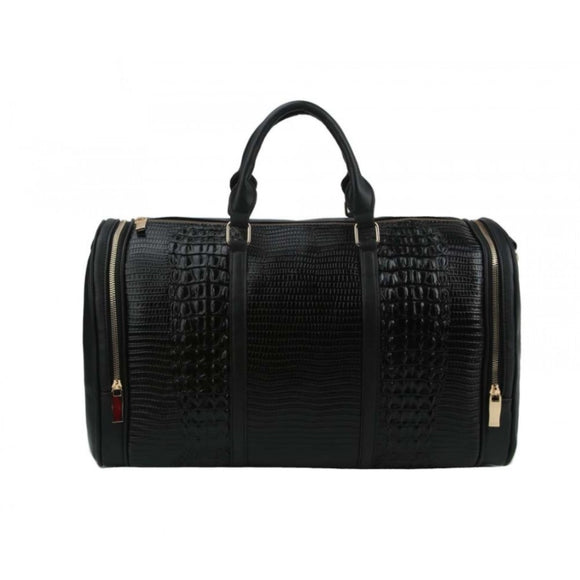 Crocodile embossed weekender bag - black