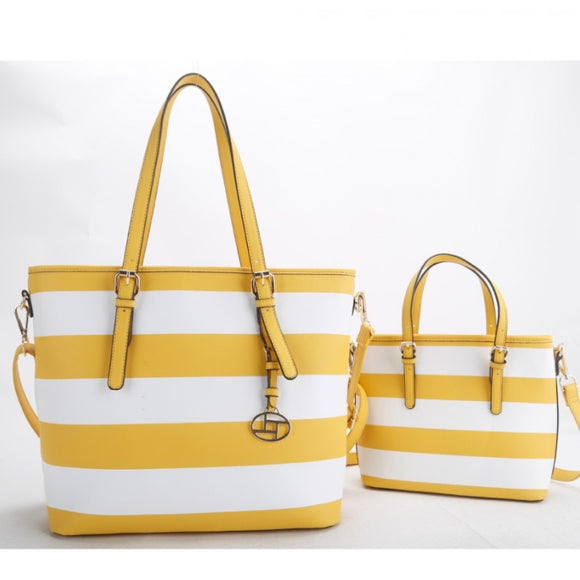 2 in 1 stripe tote set - yellow