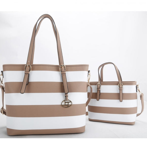 2 in 1 stripe tote set - tan