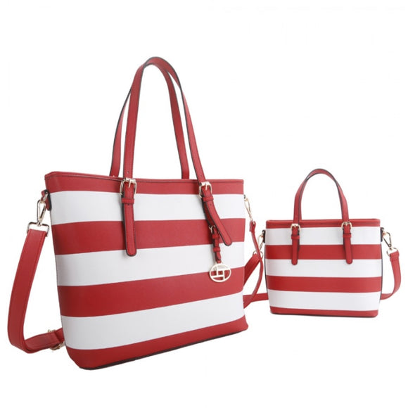 2 in 1 stripe tote set - red
