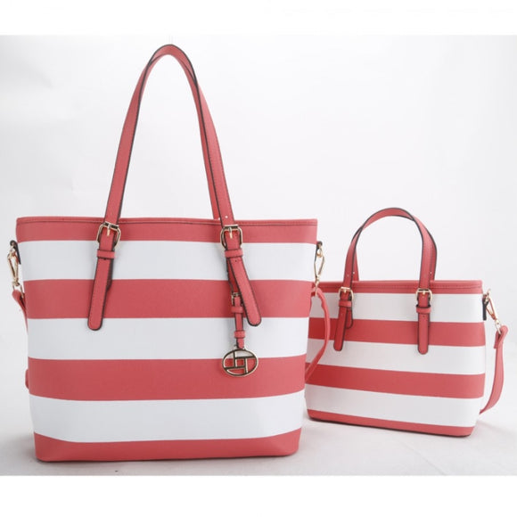 2 in 1 stripe tote set - coral