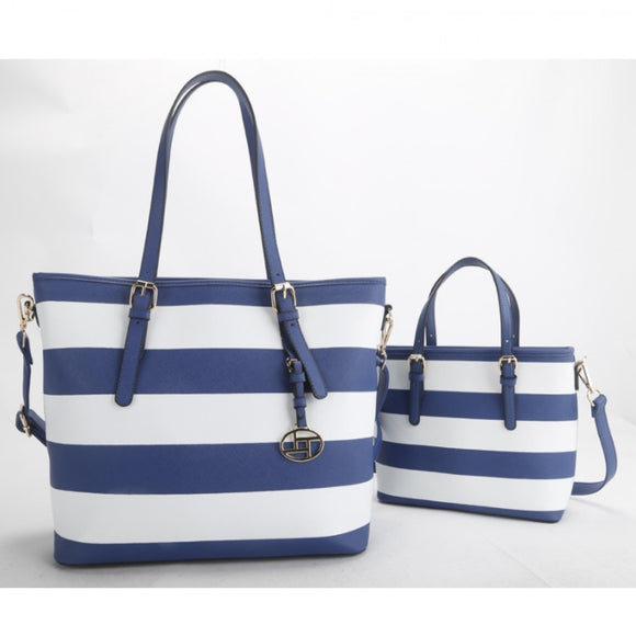 2 in 1 stripe tote set - blue