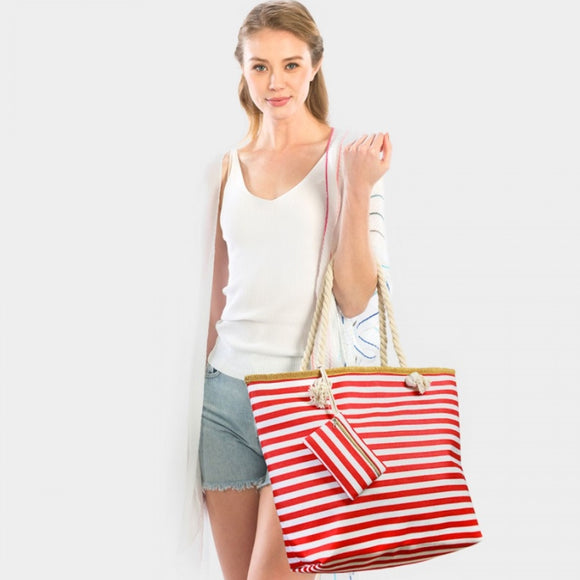 Stripe beach tote - red