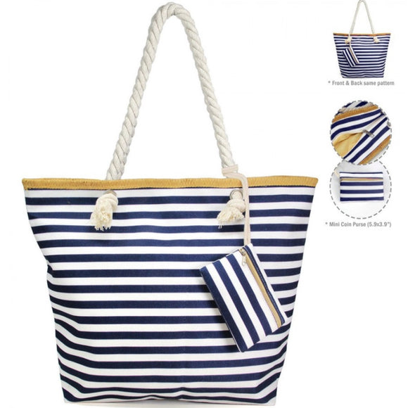 Stripe beach tote - navy